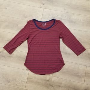 Riders by Lee Top 3/4 Sleeve Maroon & Blue {Small}